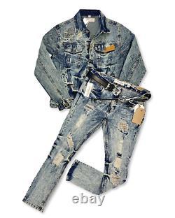 Homme 2-pc Biker Casual Jeans Outfit Hip Hop Veste+ripped Stretch Denim Pantalons Set