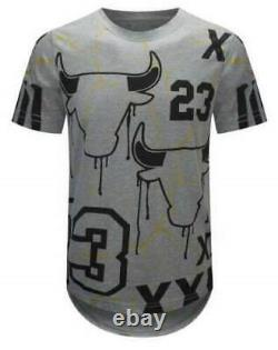 Homme 2pc Le 23 Bull Casual Outfit Ripped Graphic Shirt+denim Jeans Pantalons Set