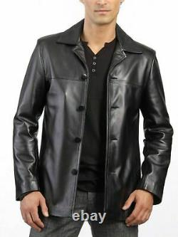 Homme Genuine Leather Blazer Soft Lambskin Real Leather Black Jacket New Outfit