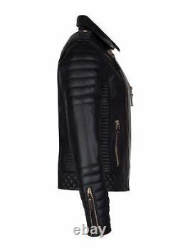 Homme Real Lambskin Leather Jacket Biker Motorcycle Style Slim Fit Black Outfit
