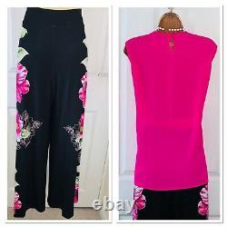 Joseph Ribkoff 2 Piece Outfit Uk Taille 8-10/ Pink Top & Pantalon Palazzo Floral