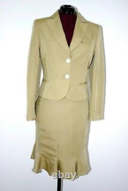 Jupe Haute Taille Beige Work Outfit Tenue Lin Élégant Élégant Ourlet Ourlet Peplum