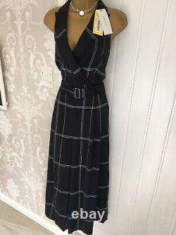 Karen Millen Bnwt Uk 16 Navy Check Belted Collar Jumpsuit All In One Outfit