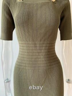 Knit Bandage Bodycon Army Green Mini Robe Avec Boutons D'or Elegant Outfit