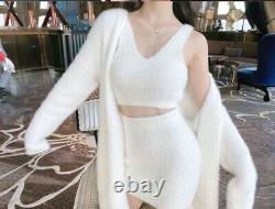 Knit Mohair Style Blanc Jupe Réservoir Top Cardigan Veste Costume Costume Ensemble 3 Pcs