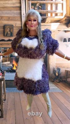 Knitt Decofur Robe Fuzzy Équipez Trois Pièces Fabriquées Sur Commande À La Main Chaude