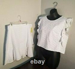 Lilly Pulitzer Top & Jupe Set Blanc Taille 14 Nouveau Avec Tags Outfit