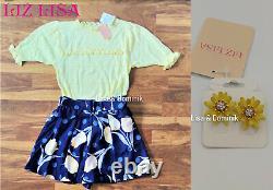 Liz Lisa Set Outfit Blume Blau Gelb Kawaii Japon Süß Féminin Rock Shirt Ohrringe