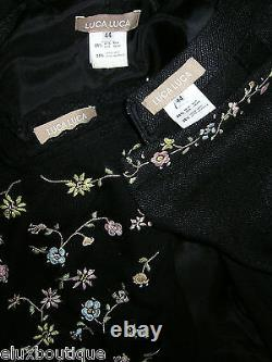Luca Luca Jupe Suit 3pc Black Cashmere Silk Ensemble Camisole Veste Outfit Nouveau