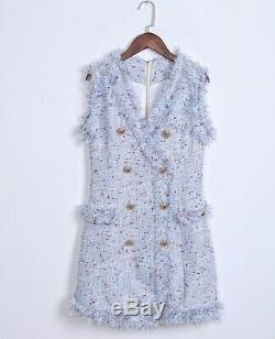 Luxe Blazer En Tweed Mini Robe D'or Boutons Occasion Outfit