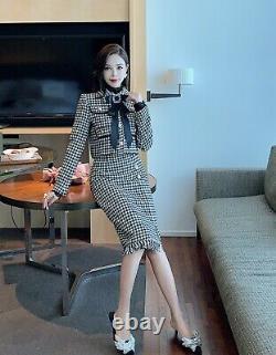 Luxury Chic Houndstooth Or Tweed Veste Blazer Crayon Jupe Costume Ensemble Tenue 2