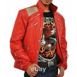 Michael Jackson Beat It Song Veste En Cuir Vintage Party Outfit Red Leather Jac