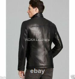 Modèle Homme Outfit Button Manteau Véritable Lambskin En Cuir Naturel Noir Veste De Motard