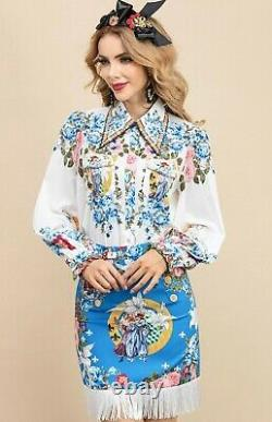 Multicolore Bleu Chic Piste Baroque Chemise Floral Chemisier Jupe Costume Ensemble