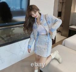 Multicolore Brillant Or Bleu Blanc Tweed Jupe Veste Blazer Costume Ensemble Tenue Lux