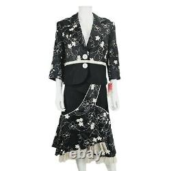 New Fee G Black Floral Embroidered Jacket Jupe Outfit Sz 16 Linen Blend