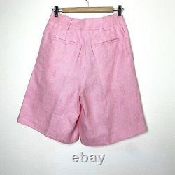 New Remain Birger Christensen Women Sz S 36 100% Lin Pink Kit Bermuda Shorts