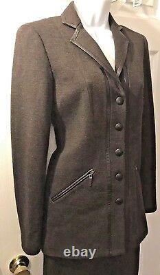New Worth Ny Brown Jupe Power Blazer Costume Set Outfit Laine Cuir Carrière Sz 0