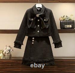 Noir Tweed Franged Or Bouton Jupe Blazer Veste Costume Ensemble Tenue Lux Chic