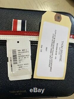 Nouveau 990 $ Thom Browne Men Stripe Détails Leather Sac De Toilette Kit Italie