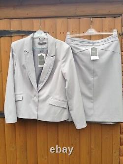Nouveau Veste De Jupe Toilered Oasis Smart Outfit Highwaist Grey Pale Blue 14