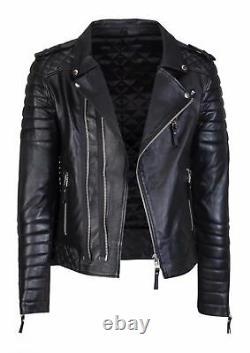 Nouveau Veste En Cuir Véritable D'agneau En Cuir Pour Hommes Black Biker Motorcycle Trendy Outfit