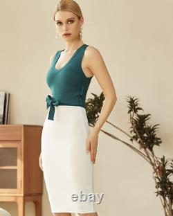 Nouvelle Designer Couture Green & Ivory Bandage Dress Bow Front Conservative Outfit