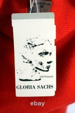 Nwt $800 Vintage Gloria Sachs Red Scottish Cashmere 2pc Sweater Top Set Outfit L