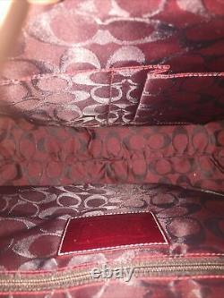 Nwt Coach Suede & Patent Leather Satchel Sac À Main, Sac À Poussière & Kit De Soins Inclus