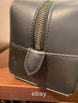 Nwt Polo Ralph Lauren Black Leather Embossed Pony Toiletry Bag Dopp Kit