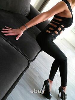 Original Luxus Catsuit Kleid Hose Overall Damen Jumpsuit T33 Shaping Outfit L