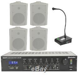 Paging Business Kit 4 Zone Pa Amplificateur Microphone Annonce Haut-parleurs