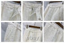 Pantalon En Frange Plaqué Or Blanc Pantalon Double Poitrine Blazer Veste Costume