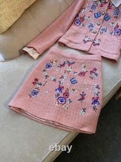 Pêche Rose Brodé Twill Tweed Perle Jupe Veste Blazer Veste Costume