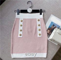 Pink Blanc Tricot Bouton Or Jupe Top Cardigan Veste Ensemble Costume Tenue 3 Pc