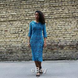 Robe Crochet Mode En Dentelle Invité De Mariage Outfit Bleu Royal Crayon Dres Course De Chevaux