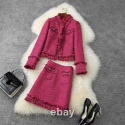 Rose Fuchsia Noir Tweed Frange Jupe Blazer Veste Costume Costume Ensemble 2 Pc