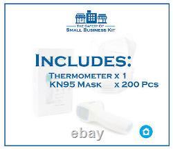 Sécurité Business Kit Combo Thermomètre Infrarouge Et Kn95 5 Couches Masque 200 Pièces