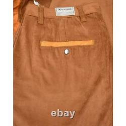 Silversilk Men's Whisky / Brown Button-up Studded Microsuede Two Piece Outfit