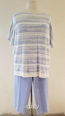 St. John White & Chambray Tweater & Blue Pantalon De Santana Taille D'aménagement Xl/14 T.n.-o.