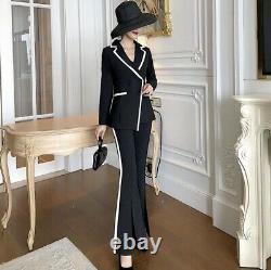 Super Chic Sur Mesure Noir Blanc Veste Pantalon Pantalon Costume Ensemble Tenue