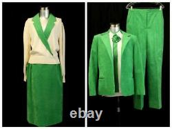 T.n.-o. Vintage Ultrasuede Vert 5pc Set Outfit LILLI Ann Pant Jupe Taille Grande 14