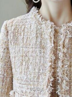 Tweed Beige Blanc Plaid Franged Gaine Robe Blazer Veste Costume Ensemble