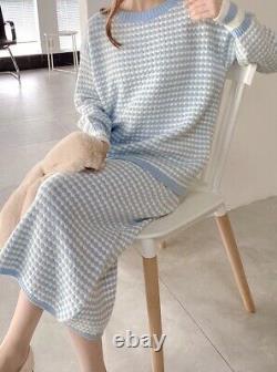 Tweed Cachemire Tricoté Pull Jupe Costume Ensemble Tenue Bleu Noir Beige