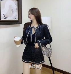 Tweed Noir Blanc Brillant Short Veste Blazer Costume Ensemble Tenue Chic