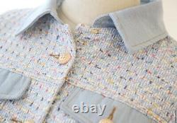 Tweed Or Multicolore Plaid Jupe Blazer Veste Costume Costume Set Crème Blanc Bleu