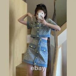 Tweed Plaid Bleu Or Sequin Jupe Veste Blazer Costume Ensemble Tenue