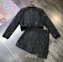 Tweed Plaid Noir Or Multicolore Jupe Squin Veste Blazer Costume Ensemble Tenue 2