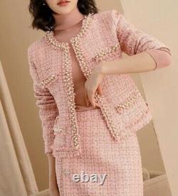 Tweed Plaid Piste Chic Sur Mesure Perle Or Blazer Veste Jupe Costume Ensemble