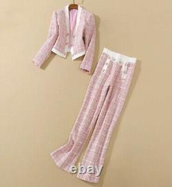 Tweed Plaid Rose Lux Pantalon Sur Mesure Pantalon Veste Blazer Costume Ensemble Tenue 2